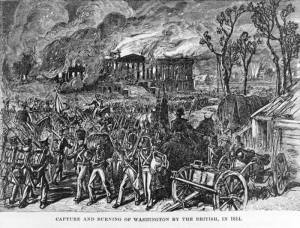 A print depicting British forces burning the White House, 1814